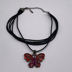 Multi Strand Cord Butterfly Necklace Rhinestones